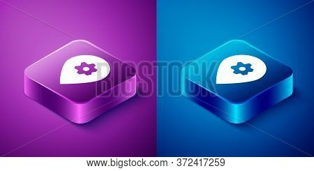 Isometric Location With Car Service Icon Isolated On Blue And Purple Background. Auto Mechanic Servi