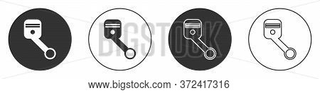 Black Engine Piston Icon Isolated On White Background. Car Engine Piston Sign. Circle Button. Vector