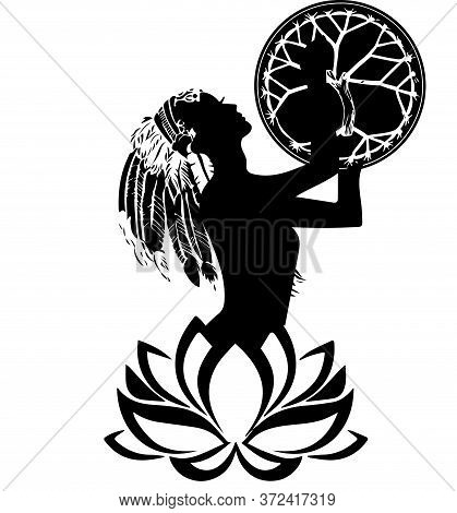 Vector Illustration Of Woman. Spiritual Design, Tattoo, Of Female Shaman With A Tambourine. The Girl
