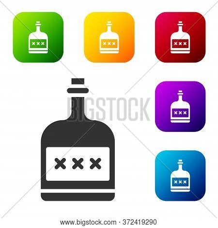 Black Alcohol Drink Rum Bottle Icon Isolated On White Background. Set Icons In Color Square Buttons.