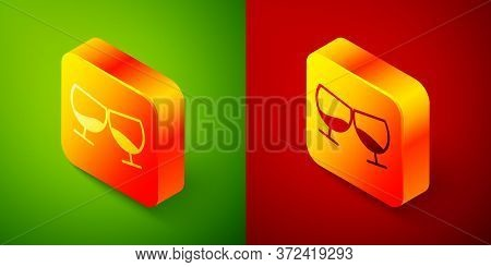 Isometric Glass Of Cognac Or Brandy Icon Isolated On Green And Red Background. Square Button. Vector