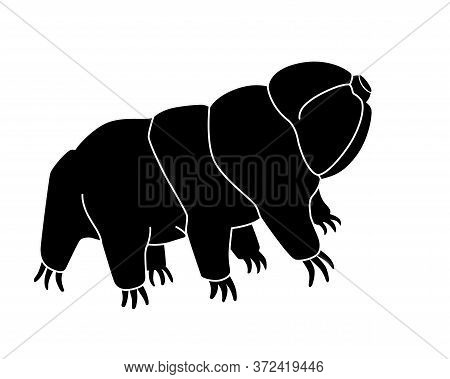 Tardigrades Silhouette - Stock Illustration For Logo Or Sign With Microscopic Animal. The Black Silh