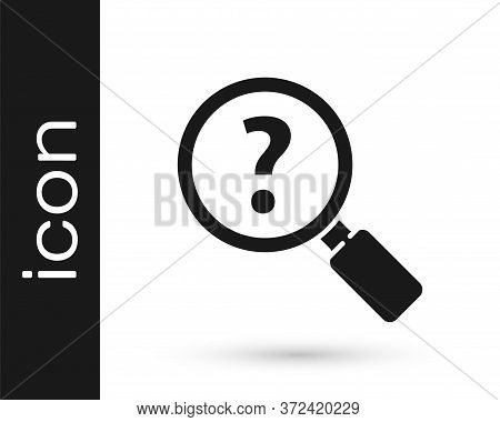 Grey Unknown Search Icon Isolated On White Background. Magnifying Glass And Question Mark. Vector Il