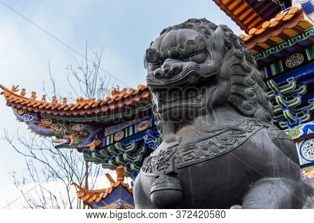 February 2019. Dali, China. The Three Pagodas Are Located In The Chongsheng Temple. Buildings That M