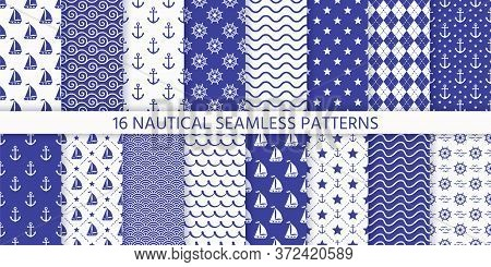 Nautical Seamless Pattern. Sea Navy Blue Backgrounds With Yacht, Anchor, Star, Waves, Wheel. Vector.