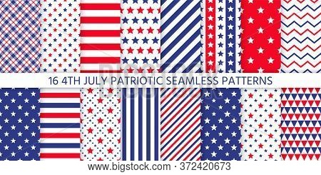4th July Seamless Pattern. Patriotic Textures. Vector. Happy Independence Day Prints With Stripes, S