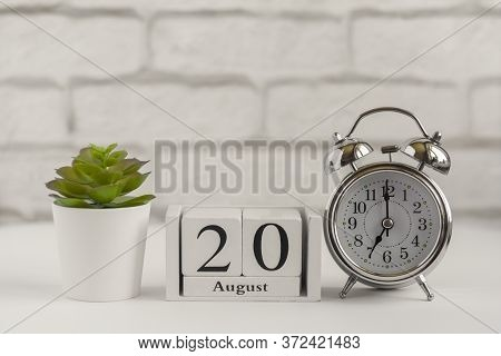 August 20 According To The Wooden Calendar. Summer Day, Empty Space For Text.calendar For August On