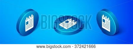 Isometric Notebook Icon Isolated On Blue Background. Spiral Notepad Icon. School Notebook. Writing P