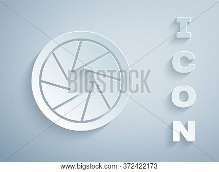 Paper Cut Camera Shutter Icon Isolated On Grey Background. Paper Art Style. Vector Illustration