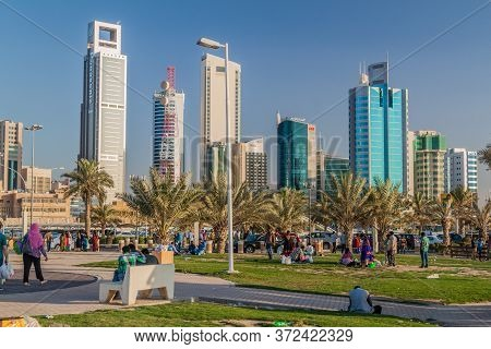 Kuwait City, Kuwait - March 17, 2017: Skyline Of Kuwait City From The Corniche Park.