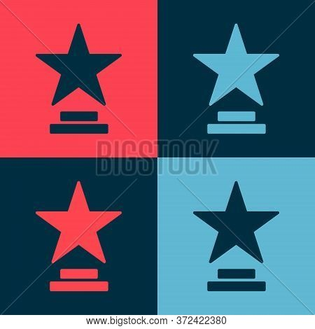 Pop Art Movie Trophy Icon Isolated On Color Background. Academy Award Icon. Films And Cinema Symbol.