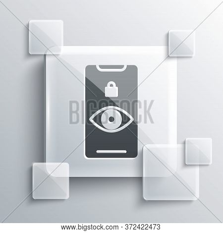 Grey Eye Scan Icon Isolated On Grey Background. Scanning Eye. Security Check Symbol. Cyber Eye Sign.