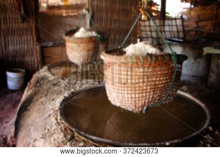How To Boil Salt In A Closed Salt Bath Inside, There Is A Large Stove Made Of Clay For Laying The Le