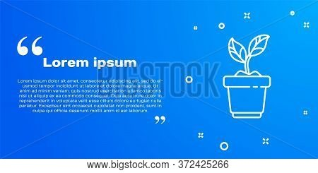 White Line Plant In Pot Icon Isolated On Blue Background. Plant Growing In A Pot. Potted Plant Sign.
