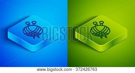 Isometric Line Yarn Ball With Knitting Needles Icon Isolated On Blue And Green Background. Label For