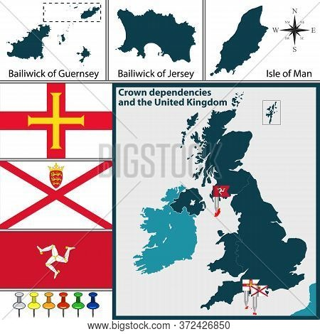 Vector Map Of Crown Dependencies Islands In Great Britain With The Bailiwick Of Guernsey, The Bailiw