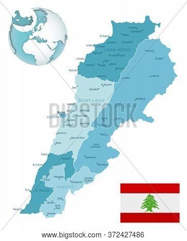 Lebanon Administrative Blue-green Map With Country Flag And Location On A Globe.