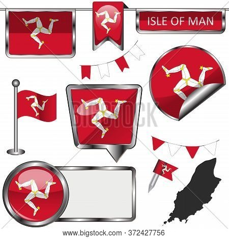 Vector Glossy Icons Of Flag Of Isle Of Man, Crown Dependencies, Great Britain