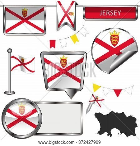 Vector Glossy Icons Of Flag Of Jersey Island, Crown Dependencies, Great Britain