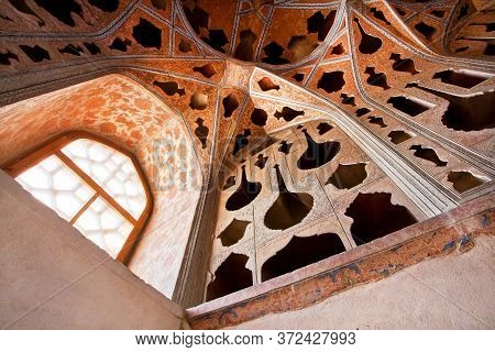 Isfahan, Iran: Interior Of Persian Palace Ali Qapu, Safavid Era Palace From 17th Century With Vintag