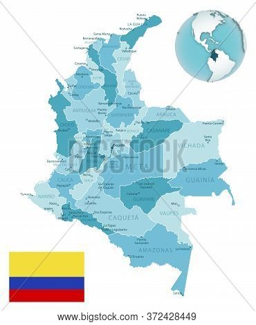Colombia Administrative Blue-green Map With Country Flag And Location On A Globe.