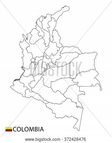 Colombia Map, Black And White Detailed Outline Regions Of The Country.