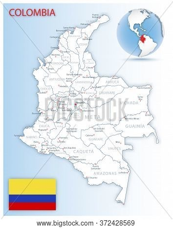 Detailed Map Of Colombia Administrative Divisions With Country Flag And Location On The Globe.