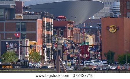 Nashville Broadway Long Distance View - Nashville, Usa - June 17, 2019