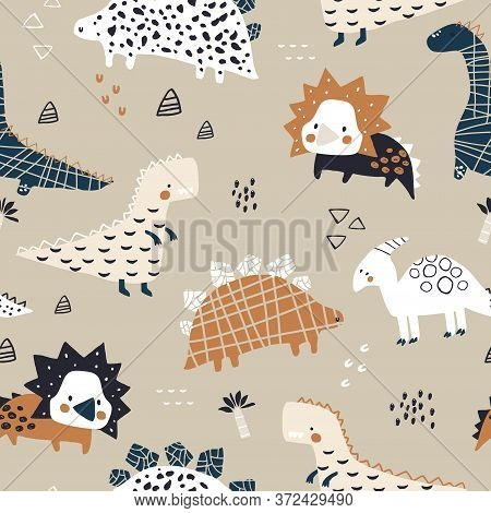 Childish Seamless Pattern With Hand Drawn Dinozaurs In Modern Style. Creative Vector Childish Backgr