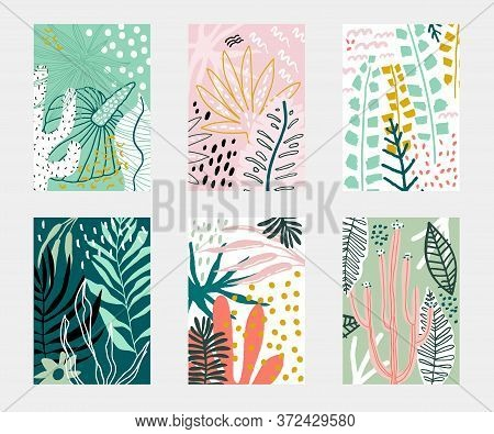Set Of Abstarct Tropical Flowers Poster Templates. Jungle Folliage Collages. Artistic Creative Unive