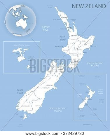 Blue-gray Detailed Map Of New Zealand And Administrative Divisions And Location On The Globe.