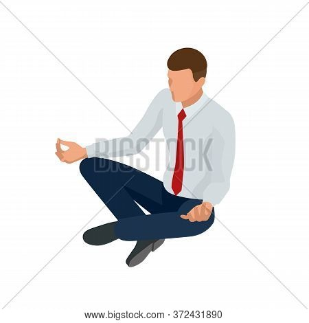 Isometric Businessman Isolated On Write. Creating An Office Worker Character, Cartoon People. Young