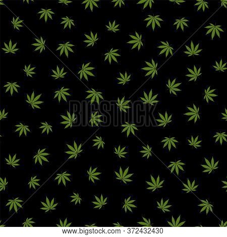 Cannabis Seamless Pattern. Marijuana Leaf, Green Weed Plant. Hashish Texture, Isolated Black Backgro