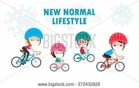 New Normal Lifestyle Concept Happy Cute Diverse Family Riding Bikes Wearing Medical Masks During Cor