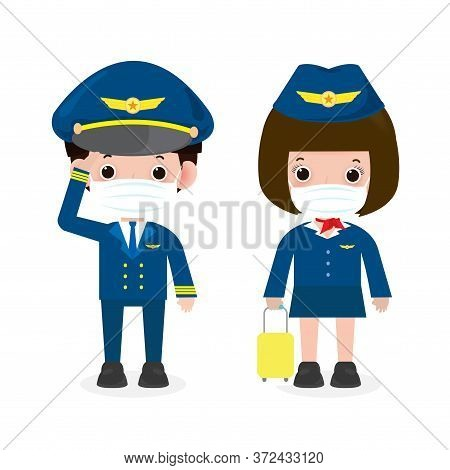 New Normal Lifestyle Concept. Pilot And Stewardess Wearing Face Mask Protect Coronavirus Covid-19, O