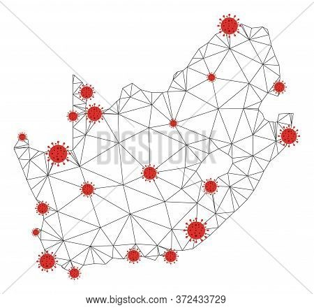 Polygonal Mesh South African Republic Map With Coronavirus Centers. Abstract Mesh Connected Lines An