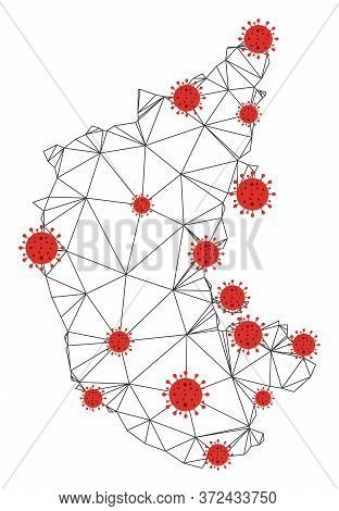 Polygonal Mesh Karnataka State Map With Coronavirus Centers. Abstract Network Connected Lines And Co