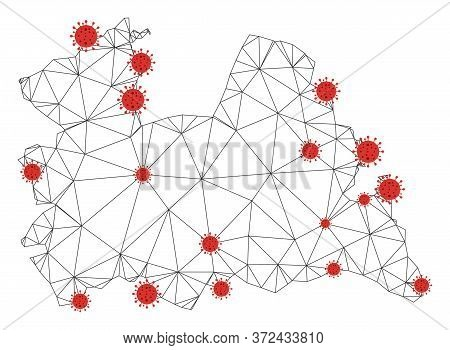 Polygonal Mesh Utrecht Province Map With Coronavirus Centers. Abstract Net Connected Lines And Covid