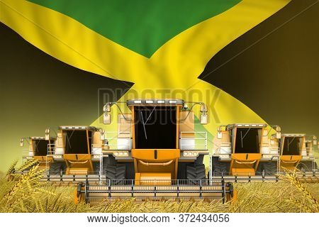 Industrial 3d Illustration Of A Lot Of Yellow Farming Combine Harvesters On Farm Field With Jamaica