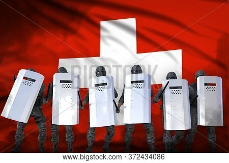 Switzerland Police Swat Protecting Country Against Revolt - Protest Fighting Concept, Military 3d Il