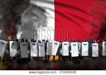 Malta Protest Fighting Concept, Police Guards In Heavy Smoke And Fire Protecting Peaceful People Aga