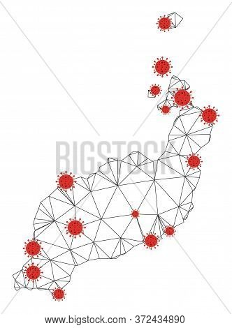 Polygonal Mesh Lanzarote Islands Map With Coronavirus Centers. Abstract Network Connected Lines And