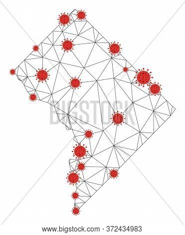 Polygonal Mesh Washington Dc Map With Coronavirus Centers. Abstract Network Connected Lines And Covi