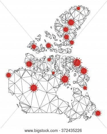 Polygonal Mesh Canada V2 Map With Coronavirus Centers. Abstract Mesh Connected Lines And Covid- 2019