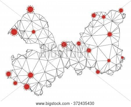 Polygonal Mesh Leningrad Oblast Map With Coronavirus Centers. Abstract Mesh Connected Lines And Covi
