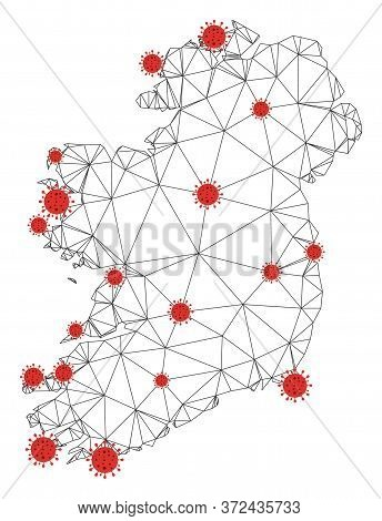 Polygonal Mesh Ireland Island Map With Coronavirus Centers. Abstract Network Connected Lines And Cov