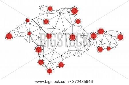 Polygonal Mesh Crimea Map With Coronavirus Centers. Abstract Network Connected Lines And Covid- 2019