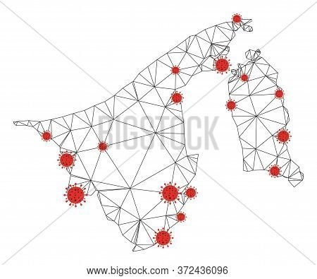 Polygonal Mesh Brunei Map With Coronavirus Centers. Abstract Mesh Connected Lines And Covid- 2019 Vi