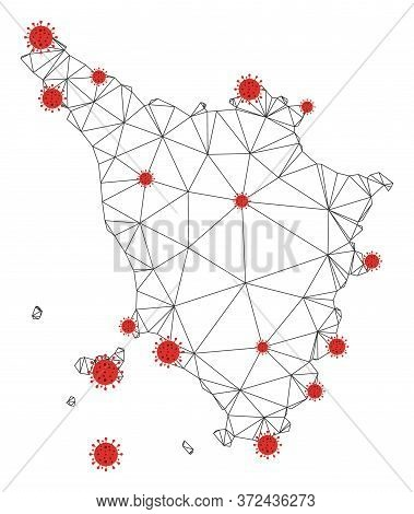 Polygonal Mesh Tuscany Region Map With Coronavirus Centers. Abstract Network Connected Lines And Cov