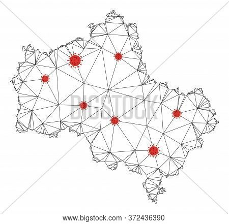 Polygonal Mesh Moscow Oblast Map With Coronavirus Centers. Abstract Mesh Connected Lines And Covid-